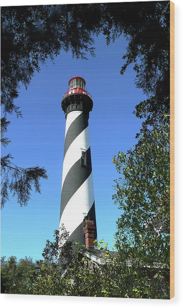 St. Augustine Light Tower Wood Print
