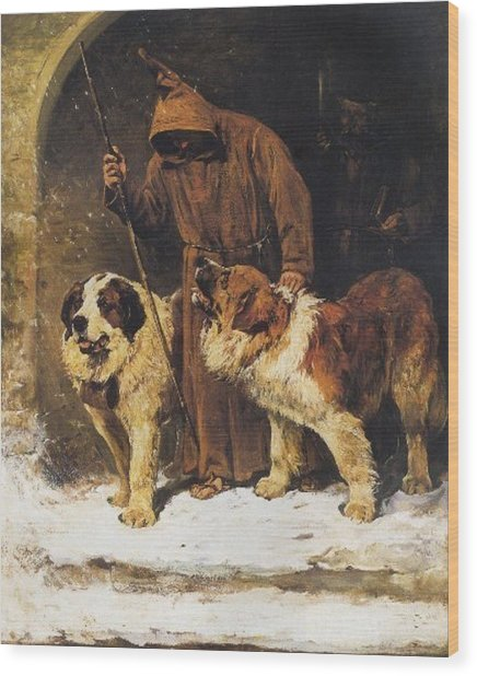 St. Bernards To The Rescue Wood Print