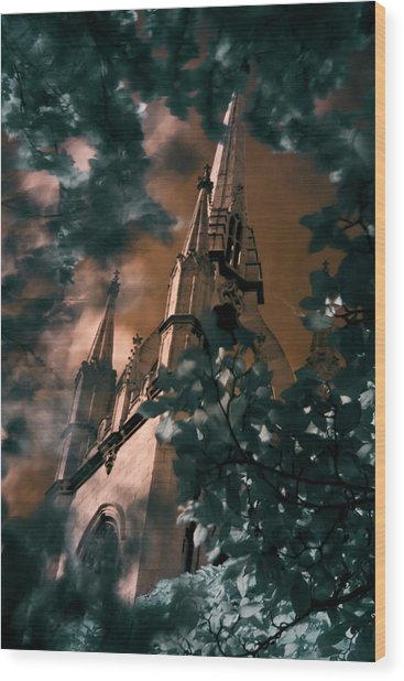 Wood Print featuring the photograph St Dunstan In The East Tower by Helga Novelli