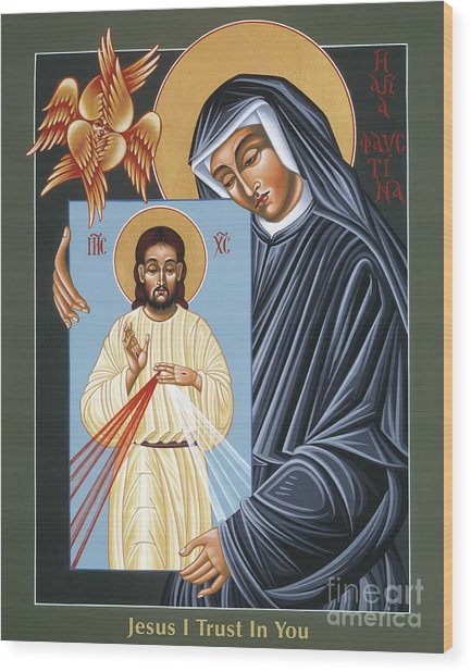 St Faustina Kowalska Apostle Of Divine Mercy 094 Wood Print