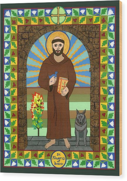 St. Francis Of Assisi Icon Wood Print by David Raber