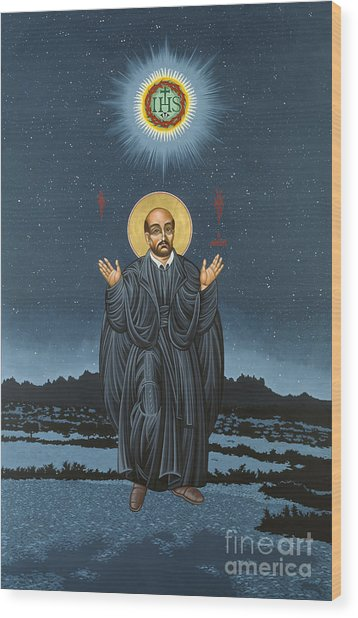 St. Ignatius In Prayer Beneath The Stars 137 Wood Print