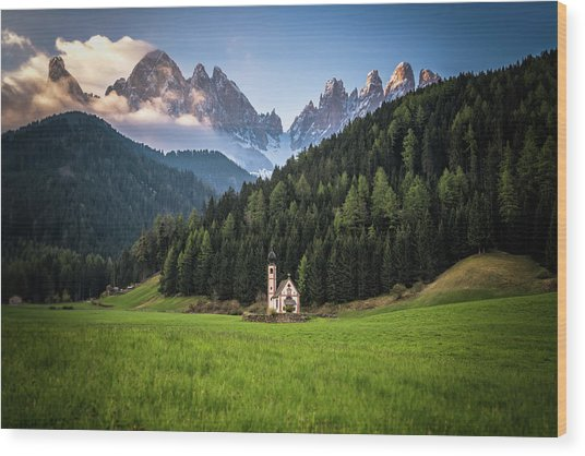 St. Johann Church In Val Di Funes Wood Print