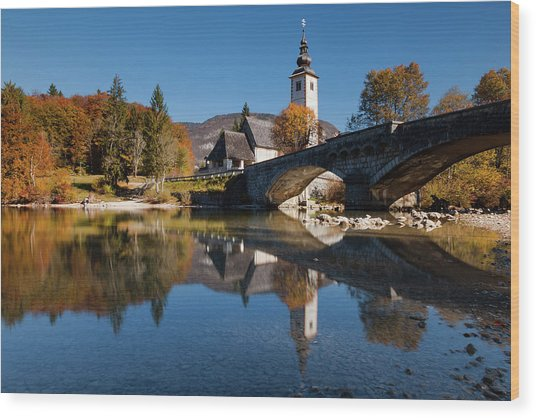 Wood Print featuring the photograph St. John The Baptist On The Lake Bohinj by Davor Zerjav