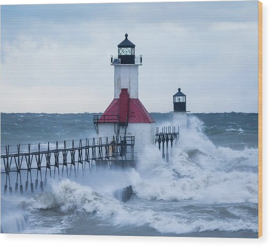 St. Joseph Lighthouse With Waves Wood Print