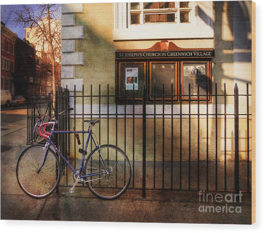 St. Joseph's Church Bicycle Wood Print