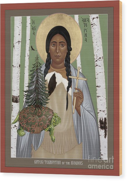 St. Kateri Tekakwitha Of The Iroquois - Rlktk Wood Print