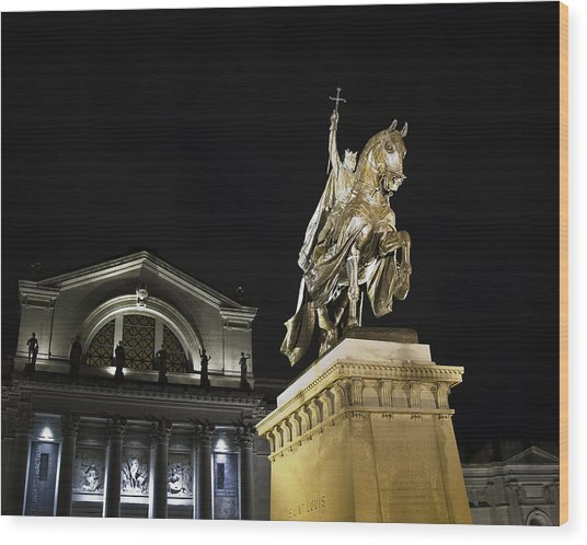 St Louis Art Museum With Statue Of Saint Louis At Night Wood Print