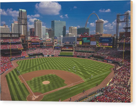 St. Louis Cardinals Busch Stadium Creative 16 Wood Print