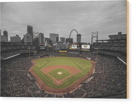 St. Louis Cardinals Busch Stadium Creative 17 Wood Print