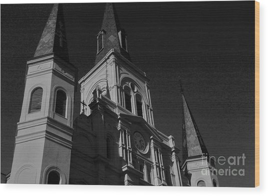 St. Louis Cathedral In Black And White Wood Print by John Giardina