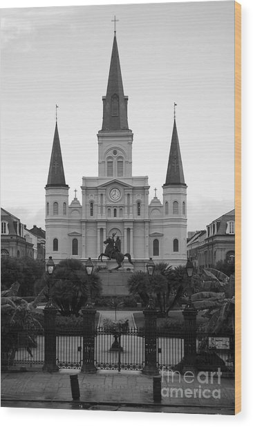 St Louis Cathedral On Jackson Square In The French Quarter New Orleans Black And White Wood Print