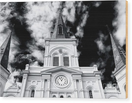 St. Louis Cathedral View Wood Print by John Rizzuto
