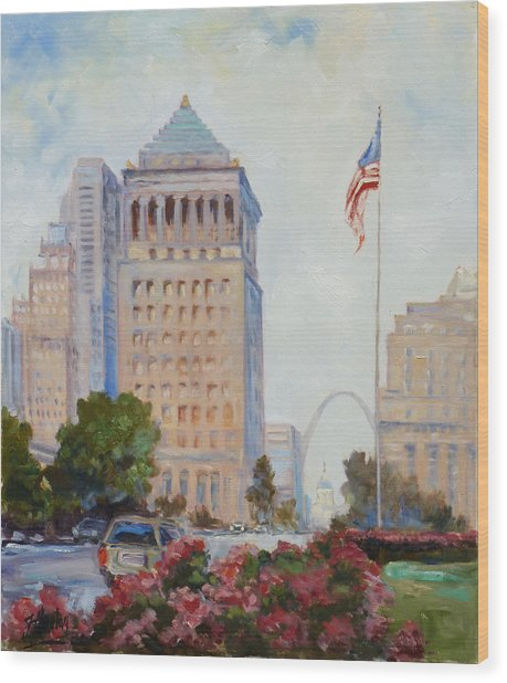 St. Louis Civil Court Building And Market Street Wood Print