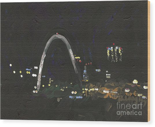 St. Louis Riverfront 1 Wood Print by Helena M Langley