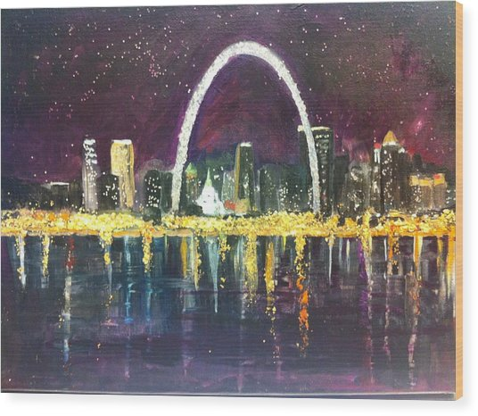 St. Louis Skyline Wood Print by Made by Marley