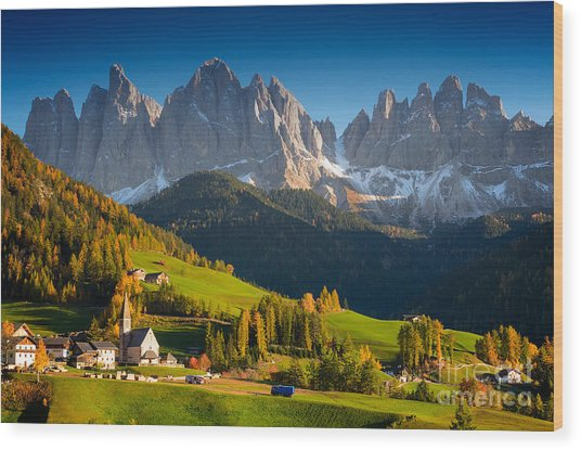 St. Magdalena Alpine Village In Autumn Wood Print
