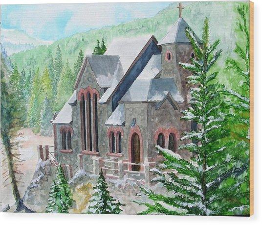 St Malo Winter Wood Print