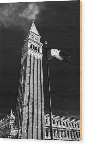 St. Marks Square Bell Tower Venice Wood Print by Ken Andersen