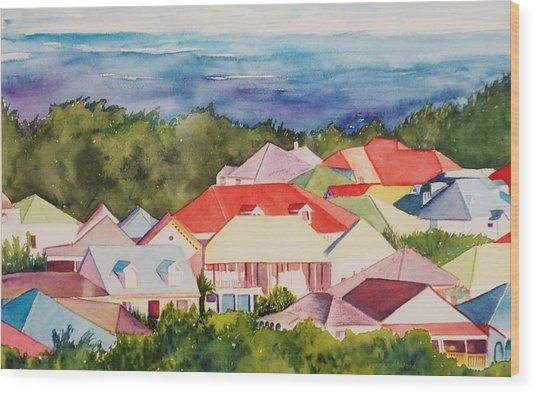 St. Martin Rooftops Wood Print