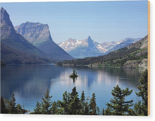St Mary Lake - Glacier National Park Mt Wood Print