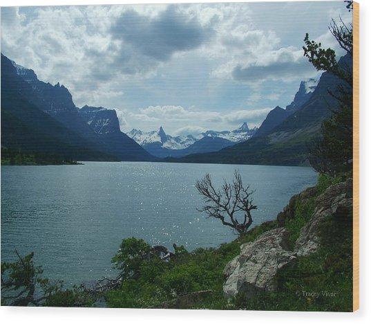 St Mary Lake, Incoming Storm Wood Print