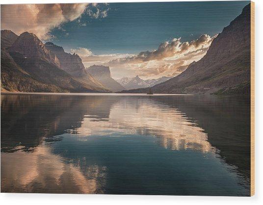 St Mary Lake Sunset Wood Print