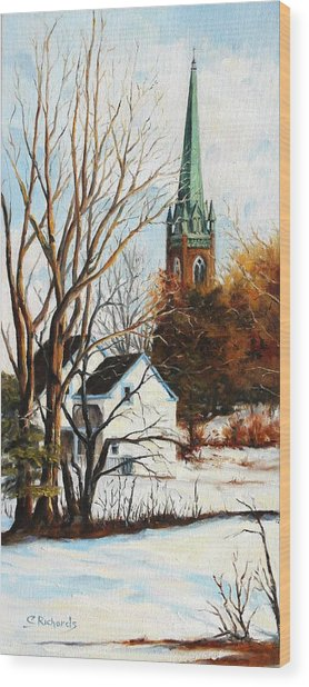 St Michael's Spire In Winter Wood Print by Cathleen Richards-Green
