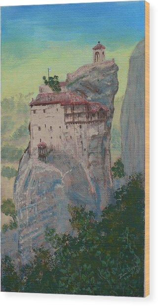 St Nicholas Anapapsas Monastery - Meteora - Greece Wood Print by Dan Bozich
