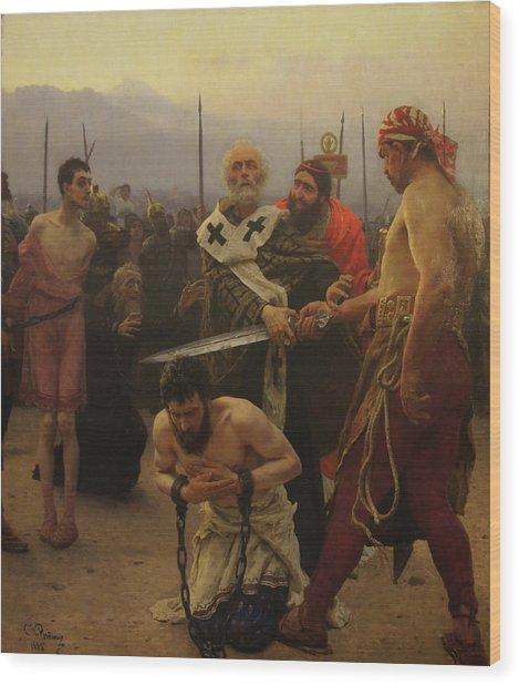 St. Nicholas Saves Three Innocents From Death Wood Print by Ilya Repin