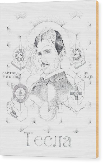St. Nikola Tesla Of Serbia Sombra De Arreguin Wood Print