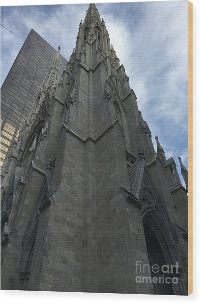 St. Patricks Cathedral Perspective Wood Print