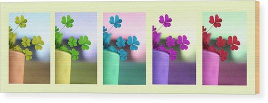 St Patrick's Day Rainbow Wood Print