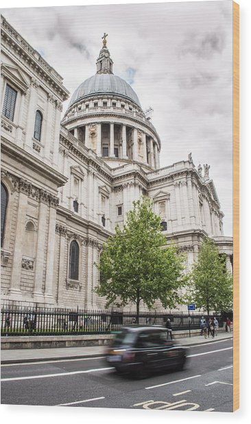 St Pauls Cathedral With Black Taxi Wood Print
