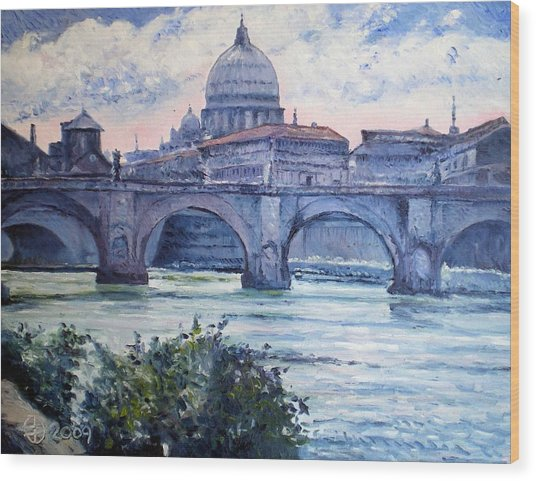 St Peter And Ponte San Angelo Rome Italy 2009 Wood Print by Enver Larney