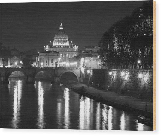 St. Peters At Night Wood Print