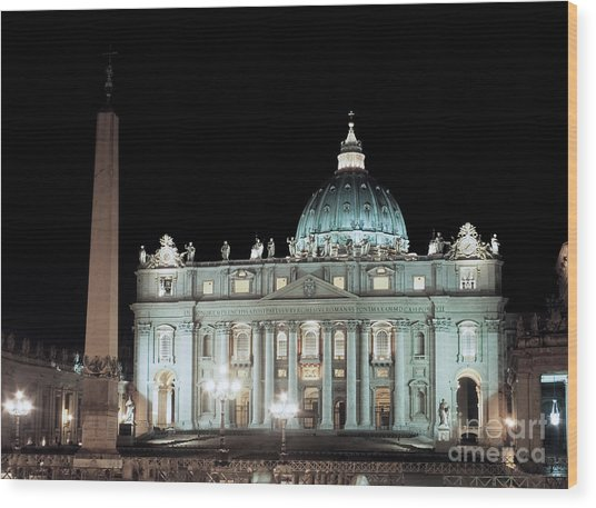 St Peter's Basilica By Night Wood Print
