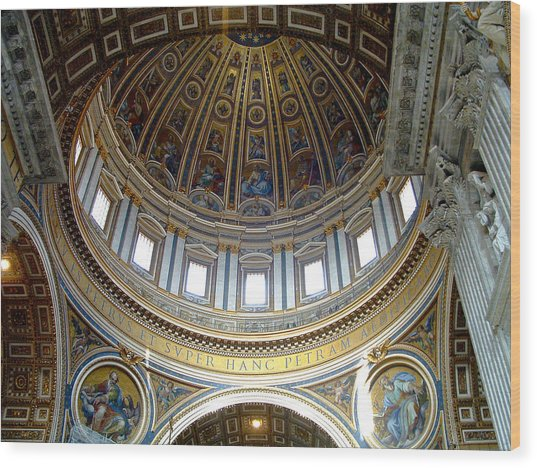St. Peters Basilica Dome Wood Print