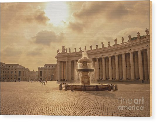 St Peter's Square In Vatican City Wood Print