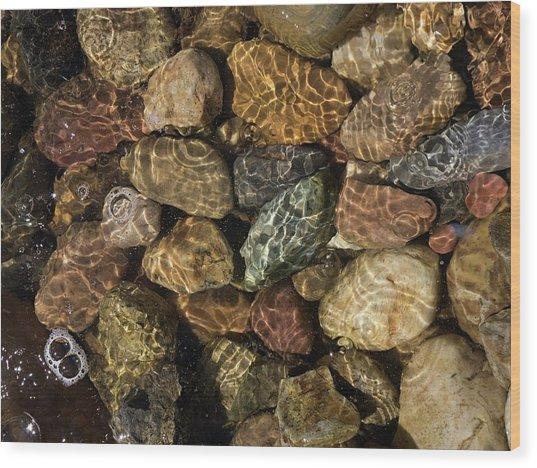 Pete's River Rocks Wood Print