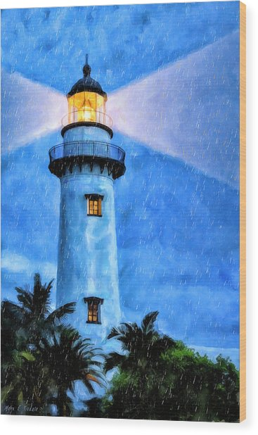 Wood Print featuring the painting Lights On For You At St. Simons by Mark Tisdale