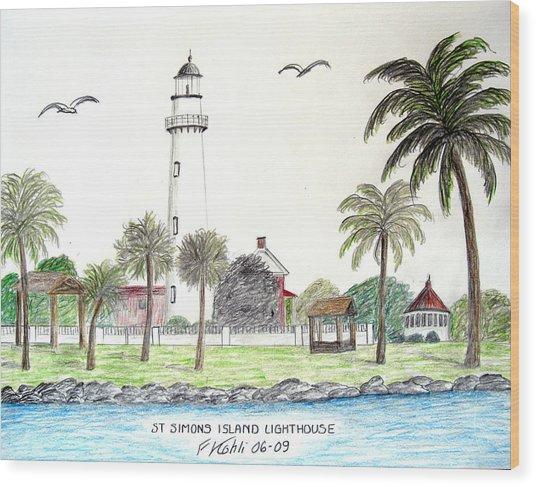 St Simons Island Lighthouse  Wood Print by Frederic Kohli