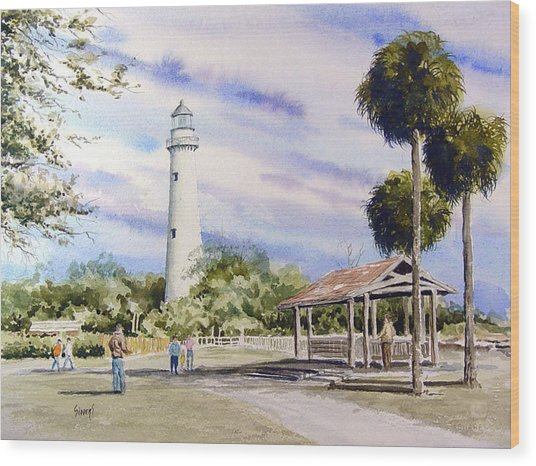 St. Simons Island Lighthouse Wood Print