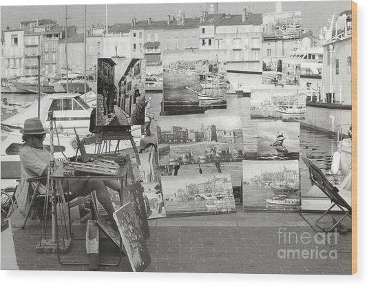 St. Tropez Paintings Wood Print by Andrea Simon