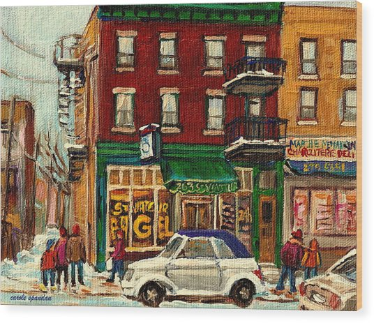 St Viateur Bagel And Mehadrins Deli Wood Print