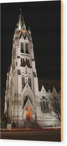 St. Xavier Full Height At Night Wood Print