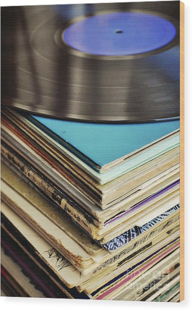 Stack Of Records Wood Print