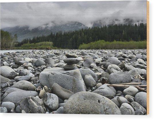 Stacked Rocks Wood Print