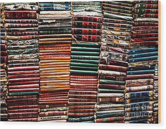 Wood Print featuring the photograph Stacks Of Books by Miles Whittingham