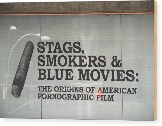 Stags Smokers And Blue Movies Wood Print by James Zuffoletto
